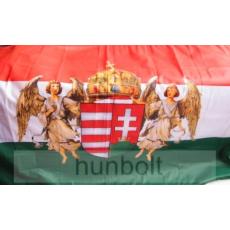 Nemzeti színű új címeres barna angyalos zászló 90x150 cm. A Horthy időszak hivatalos zászlója 1919-1938-ig.