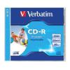 CD-R lemez, nyomtatható, matt, ID, AZO, 700MB, 52x, normál tok, VERBATIM (CDV7052N)