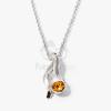 Ezüst bevonatos nyaklánc köves medállal aranysárga jwr-1308