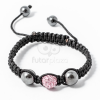 Shamballa karkötő 1 kristály + 2 csakragolyó rózsaszín jwr-1531