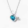 Nyíllal átlőtt szív medálos nyaklánc aquakék kővel jwr-1310