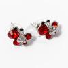 Ezüst bevonatos pillangós fülbevaló piros kövekkel jwr-1394
