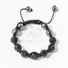 Shamballa karkötő 7 kristály + 4 csakragolyó fekete jwr-1563