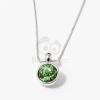 Ezüst bevonatos kerek köves medál nyaklánccal zöld jwr-1280