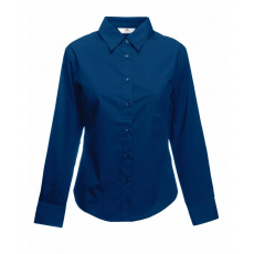 Fruit of the Loom FoL Lady-Fit Long Sleeve Poplin Shirt, sötétkék