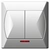 Kapcsoló (105j), dupla, jelzőfény, komplett (Akcent) fehér
