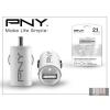 PNY USB szivargyújtós töltő adapter - 5V/2,1A - fehér