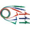 Cliff Biztonsági mérővezeték készlet [ dugó 4 mm - ellenőrzőhegy] 1.5 m kék, zöld, piros Cliff CIH29917