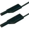Biztonsági mérővezeték [ lamellás dugó 4 mm - lamellás dugó 4 mm] 0.25 m fekete SKS Hirschmann MLS WS 25/1 sw