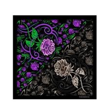 Lila-fekete rózsás kendő