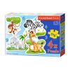 Afrikai állatok 3, 4, 6 és 9 darabos sziluett puzzle - nagy