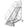KRAUSE - Ipari lépcső dobogóval, gurítható 800mm 45° 10 fokos