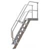 KRAUSE - Ipari lépcső dobogóval 600mm 45° bordázott alu fokkal 5 fokos