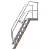KRAUSE - Ipari lépcső dobogóval 600mm 60° bordázott alu fokkal 9 fokos