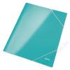 Leitz Gumis mappa, 15 mm, karton, A4, lakkfényű, LEITZ Wow, jégkék (E39820051)