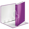 """Leitz Gyűrűs könyv, 4 gyűrű, D alakú, 40 mm, A4 Maxi, karton, lakkfényű, LEITZ """"Wow"""", lila"""