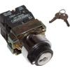 Tracon Electric Kulcsos kapcsoló, fémalap, bal KI, kétállású, rugóvissza - 1xNC+1xNO, 3A/230V AC, IP42 NYBG65KK - Tracon