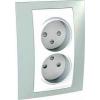 Schneider Electric UNICA PLUS Kettes csatlakozóaljzat védőföldelés nélkül gyermekvédelemmel 16 A IP20 Zöld MGU63.063.870 - Schneider Electric