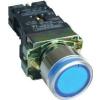 Tracon Electric Világító nyomógomb, fémalapra szerelt, kék, glim - 1xNO, 3A/400V AC, 230V, IP42 NYGBW33K - Tracon