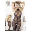 Mandy Mystery lingerie Virágmintás alul nyitott necc overall - fekete - S-L méret