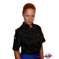Női szakácskabát fekete rövid ujjú fekete színű kivehető gombokkal