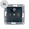 Asfora - TV-R-SAT aljzat, átmenő, 8 dB, keret nélkül, alumínium