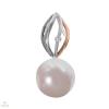 Fehér arany medál gyémánttal és gyönggyel - 221011