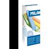 SZÍNES kréta MILAN, hengeres test, pormentes, táblára és asztfaltra ajánlott, 10 db-os