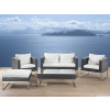 Beliani Kerti bútor szett barna - rattan - Asztal - Kanapé - 2 x karosszék - CREMA