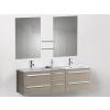 Beliani Fürdoszoba bútor + két mosdó + két tükör - Fürdoszoba szekrény - MADRID bézs