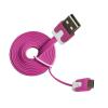 Vakoss MSONIC microUSB kábel 2.0 A-B M/M 1m, lapos kábel, MLU527NP rózsaszín