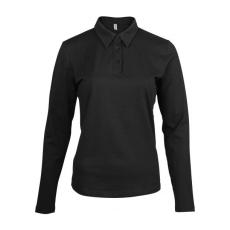 KARIBAN hosszúujjú női galléros póló, fekete (Kariban hosszúujjú női galléros póló, fekete)