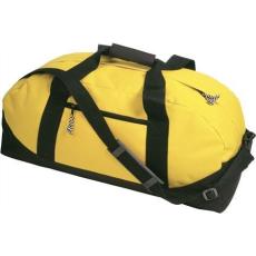600D poliészter, Sport-, utazótáska, sárga (Sport- és utazótáska vállpánttal, cipzáras zsebbel. 600D)