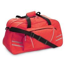 Sport-, utazótáska fényvisszaverõ csíkkal, piros (Sport- és utazótáska nagy elsõ zsebbel,)