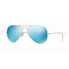 Ray-Ban RB3025 112/17 AVIATOR MATTE GOLD CRY.GREEN MIRROR MULTIL.BLUE napszemüveg (RB3025__112_17)