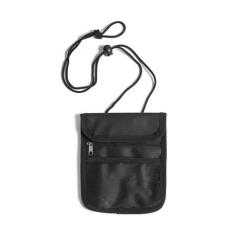 Nyakbaakasztható utazótárca, fekete (Utazótárca nyakpánttal, tépőzáras lezárással, egy cipzáras)