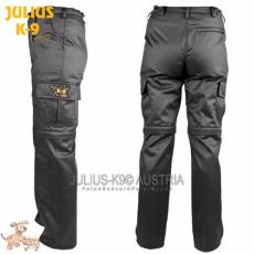 Julius-K9 K9 pamut nadrág, cipzározható szárral - impregnált, fekete / méret 50