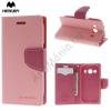 Mercurycase Mercury Fancy Diary tok álló, bőr (FLIP, mágneses, oldalra nyíló, bankkártya tartó, asztali tartó funkció) RÓZSASZÍN [Samsung Galaxy Ace 4 LTE (SM-G357FZ)]