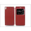 Sony Xperia Z5 S-View Flexi oldalra nyíló flipes tok - piros