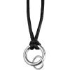 Akzent nyaklánc ékszer Textil, Fekete, hosszúság60 cm / vastagság 2 mm nemesacél
