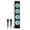 Auna Karaboom LED bluetooth hangfal, USB, AUX, FM, karaoke, 2 mikrofon, fekete
