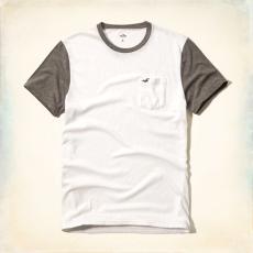 Hollister póló- fehér, zsebes