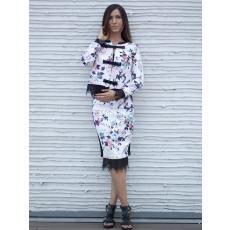 Meringue fashion nyomott virág mintás,csipkebetétes kosztüm