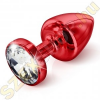 Diogol Anni Round kristályvégű alumínium análdugó - piros
