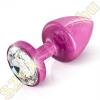 Diogol Anni Round kristályvégű alumínium análdugó - rózsaszín