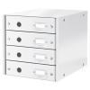 Leitz Irattároló, laminált karton, 4 fiókos, LEITZ Click&Store, fehér