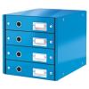 Leitz Irattároló, laminált karton, 4 fiókos, LEITZ Click&Store, kék