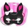 Cica álarc - fekete, rózsaszín masnival