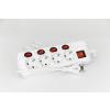 Steck Túláramvédős külön kapcsolható hálózati elosztó hosszabító, 4 aljzat, 1,5 m SEK 415k