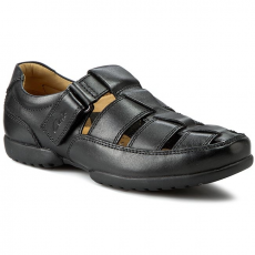 Clarks Félcipő CLARKS - Recline Open 203496428 Black Leather